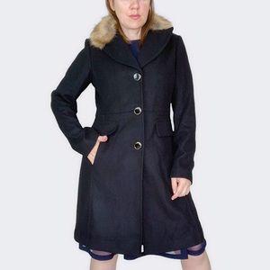 Kate Spade Faux Fur Collar Wool Blend Coat Sz M